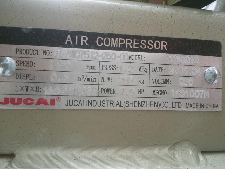 Thông số kĩ thuật máy nén khí Aw60012 250l Jucai